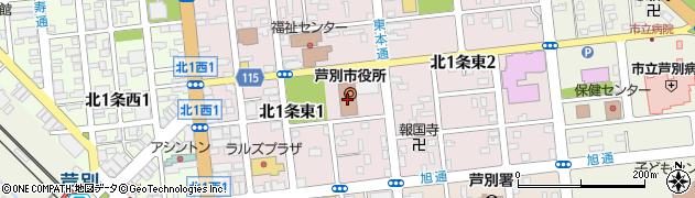 北海道芦別市周辺の地図