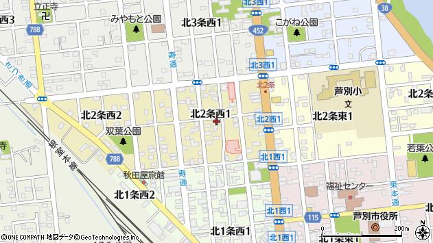 〒075-0002 北海道芦別市北二条西の地図