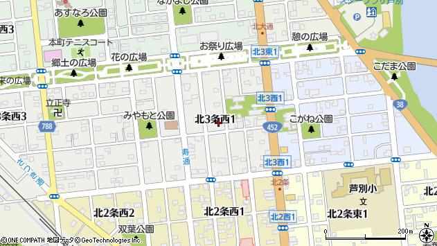 〒075-0003 北海道芦別市北三条西の地図