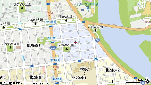 〒075-0013 北海道芦別市北三条東の地図