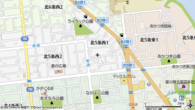 〒075-0005 北海道芦別市北五条西の地図