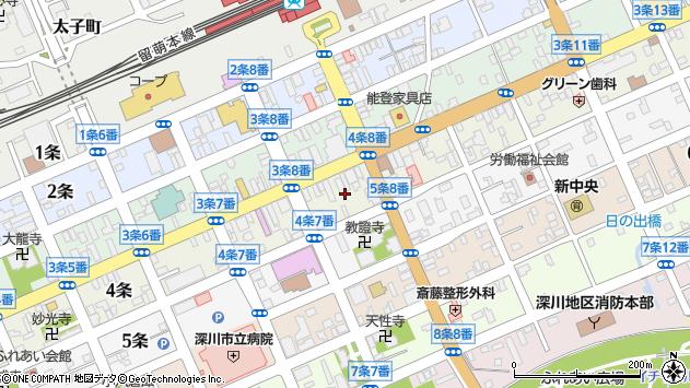 〒074-0004 北海道深川市四条の地図