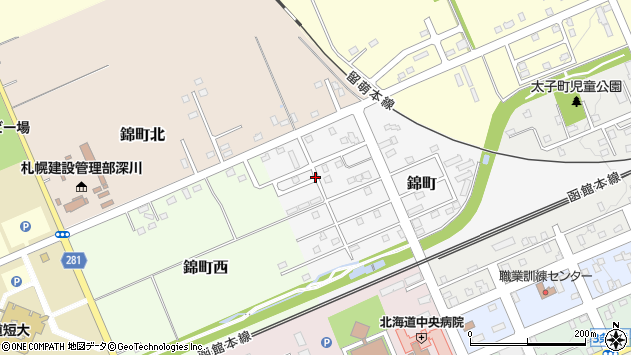 〒074-0025 北海道深川市錦町の地図