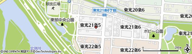 北海道旭川市東光21条周辺の地図