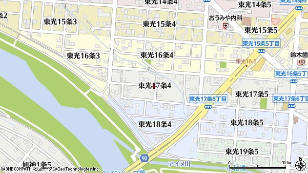 〒078-8357 北海道旭川市東光17条の地図