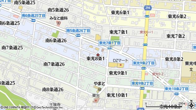 〒078-8348 北海道旭川市東光8条の地図
