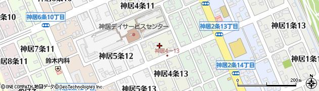 北海道旭川市神居4条周辺の地図