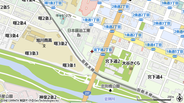〒070-0030 北海道旭川市宮下通1丁目の地図