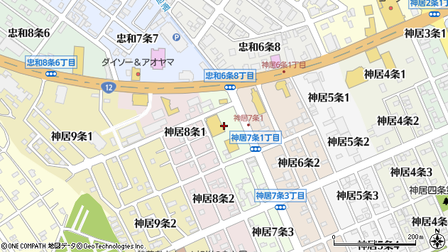 〒070-8017 北海道旭川市神居7条の地図