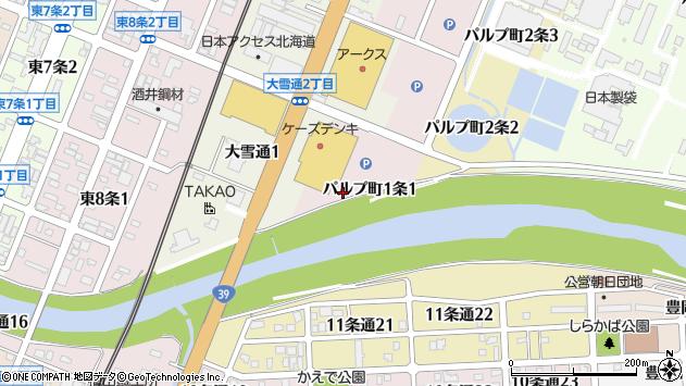〒070-0011 北海道旭川市パルプ町1条の地図
