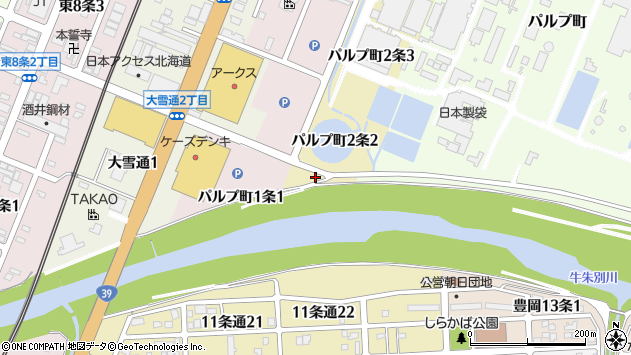 〒070-0012 北海道旭川市パルプ町2条の地図