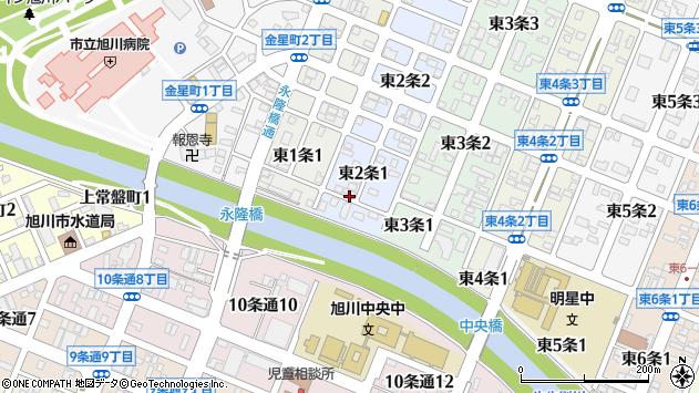 〒070-0022 北海道旭川市東2条の地図