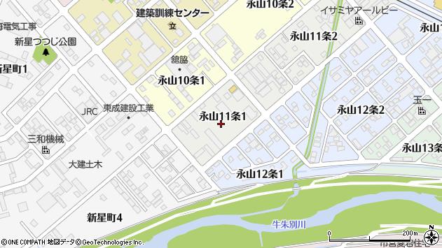 〒079-8421 北海道旭川市永山11条の地図