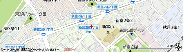 北海道旭川市新富2条周辺の地図