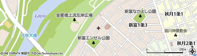 北海道旭川市新富1条周辺の地図