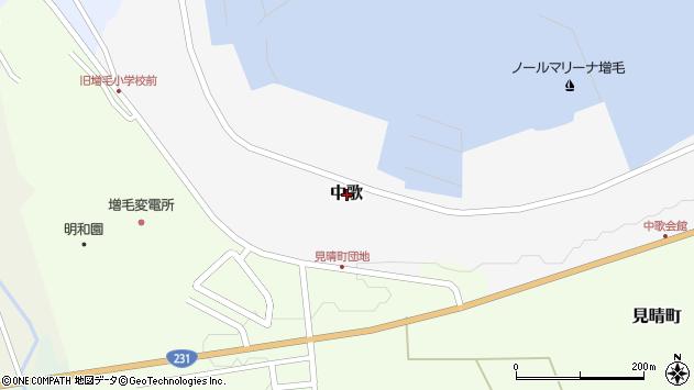 〒077-0206 北海道増毛郡増毛町中歌の地図