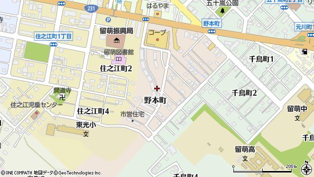 〒077-0025 北海道留萌市野本町の地図