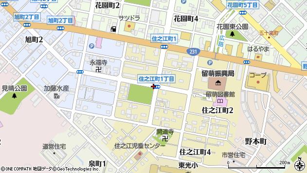 〒077-0027 北海道留萌市住之江町の地図