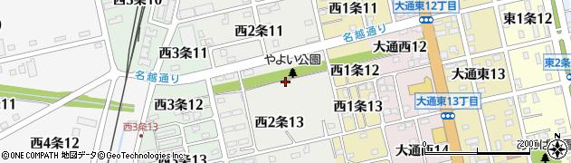 北海道士別市西2条周辺の地図