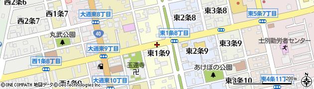 北海道士別市東1条周辺の地図