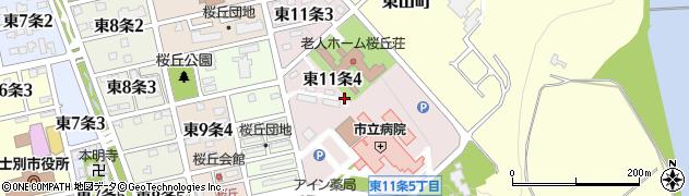 北海道士別市東11条周辺の地図