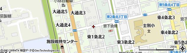 北海道士別市東1条北周辺の地図