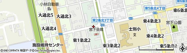 北海道士別市東2条北周辺の地図