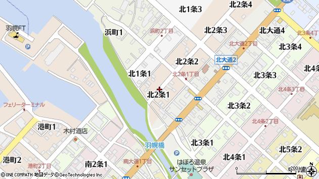 〒078-4112 北海道苫前郡羽幌町北二条の地図