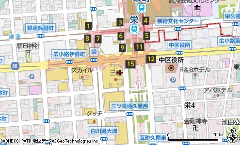 カフェ ド クリエ 栄地下中央一番街の大きい地図を見る
